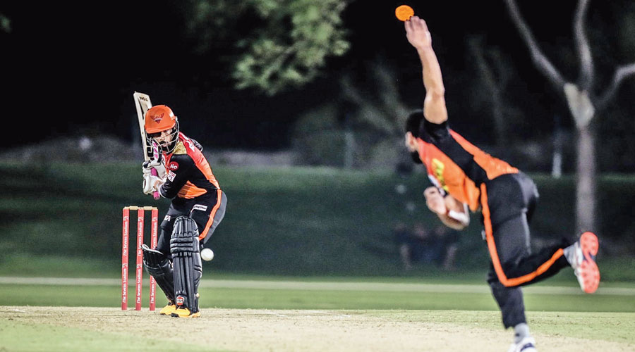 Wriddhiman Saha at the crease during a practice match of Sunrisers Hyderabad on Thursday.