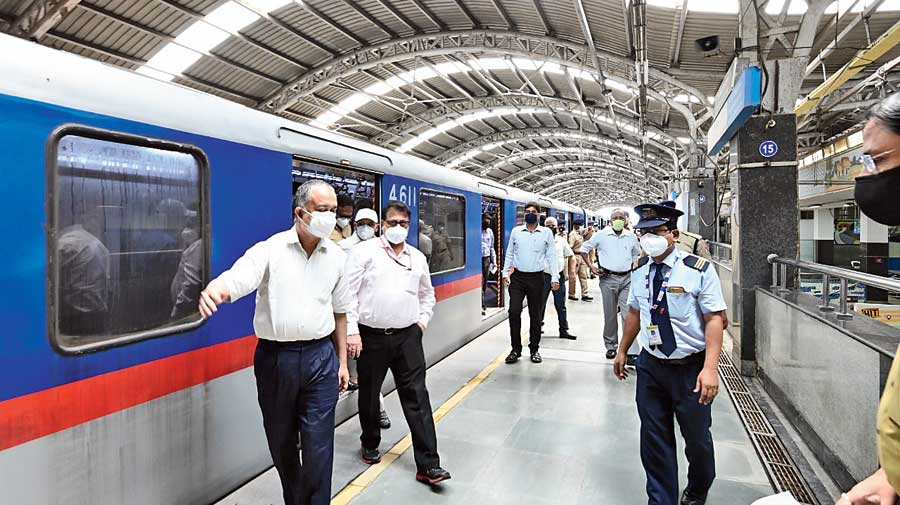 Senior Metro officials at an inspection at Park Street station on Wednesday.