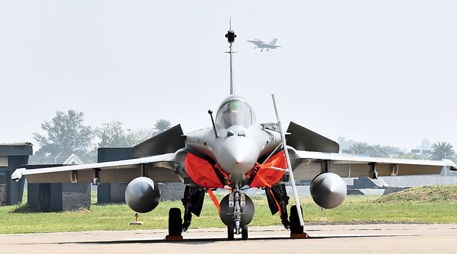 A Rafale aircraft after its induction into the Golden Arrows squadron of the Indian Air Force in Ambala on Thursday.