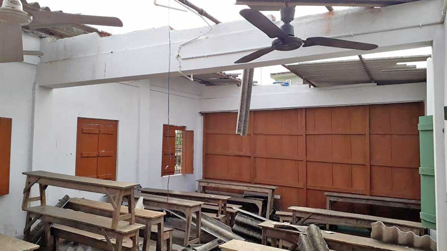 A classroom of Bhowanichak Aghore Chand High School in Contai damaged in Cyclone Amphan.