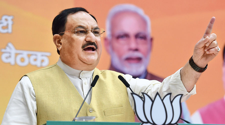 Nadda in New Delhi during the online meeting.