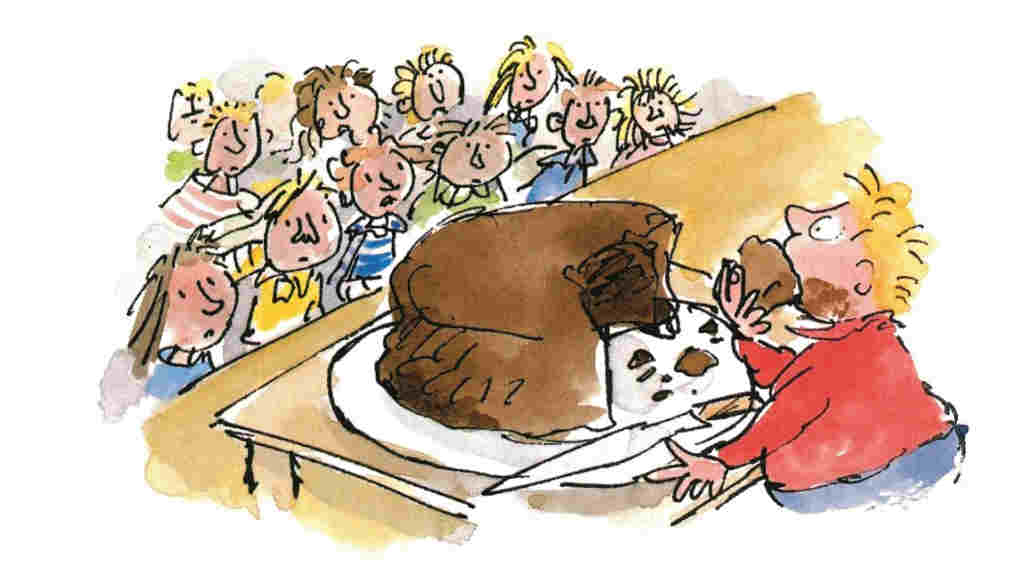 An illustration of Bruce Bogtrotter by Quentin Blake.