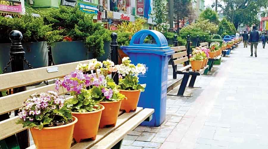 MG Marg, the most prominent thoroughfare  in Gangtok