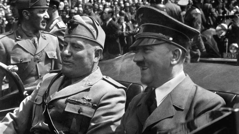 Hitler and Mussolini in Munich, Germany, June 18, 1940. Hitler was at a high point, as his army accomplished a string of victories and was completing its conquest of continental Western Europe.