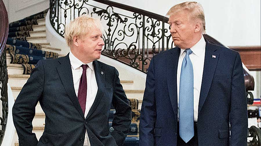 President Donald Trump and Prime Minister Boris Johnson at the G-7 summit in Biarritz, France, on August 25, 2019.