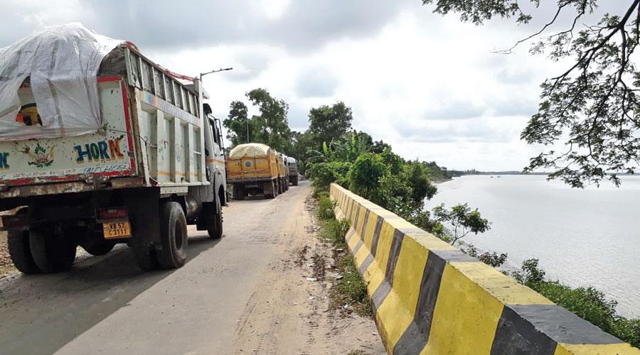 Trucks in Haldia on Saturday.