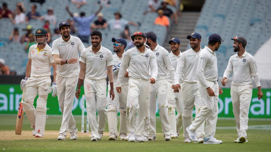 Team India led by captain Virat Kohli walk off the field for lunch on Day 3 of the third Test between the team and Australia in Melbourne on December 28, 2018.