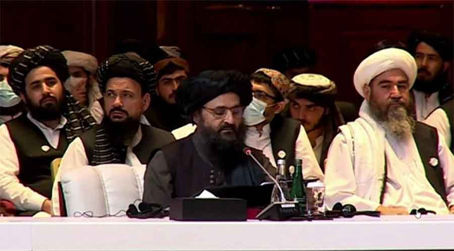 """Taliban leader Mullah Baradar Akhund said that Afghanistan should """"have an Islamic system in which all tribes and ethnicities of the country find themselves without any discrimination and live their lives in love and brotherhood""""."""