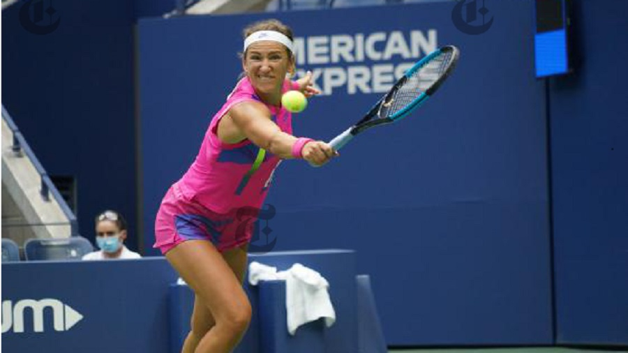 Victoria Azarenka hits the ball during the U.S. Open women's singles final against Naomi Osaka, at Arthur Ashe Stadium in New York, on Saturday, September 12, 2020.