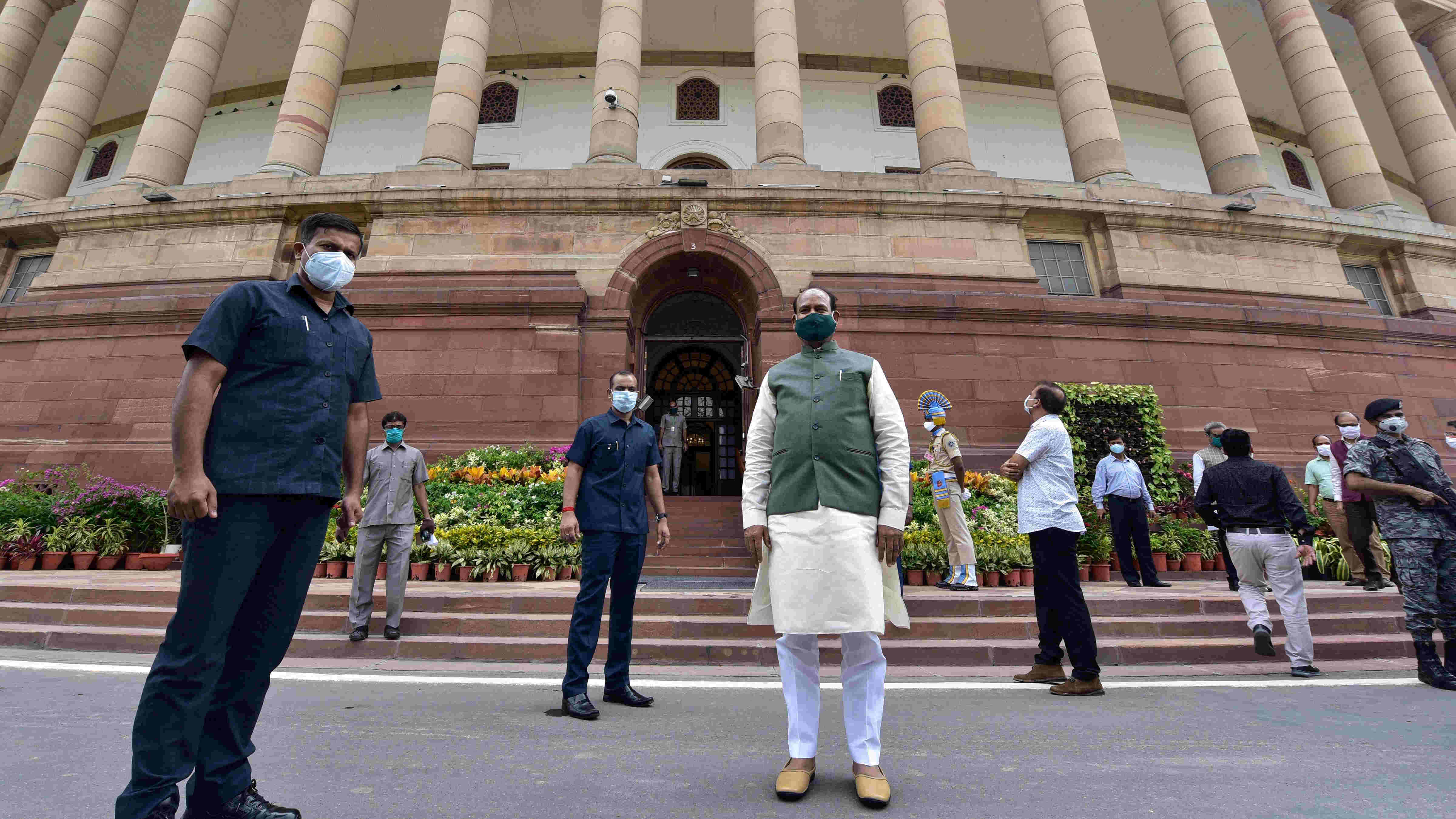 Lok Sabha Speaker Om Birla poses for a photograph at Parliament House ahead of the monsoon session of Parliament, in New Delhi, Sunday, Sept. 13, 2020.