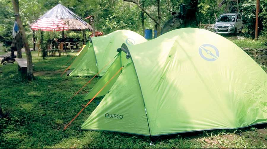 Tents on the premises of one of such properties.