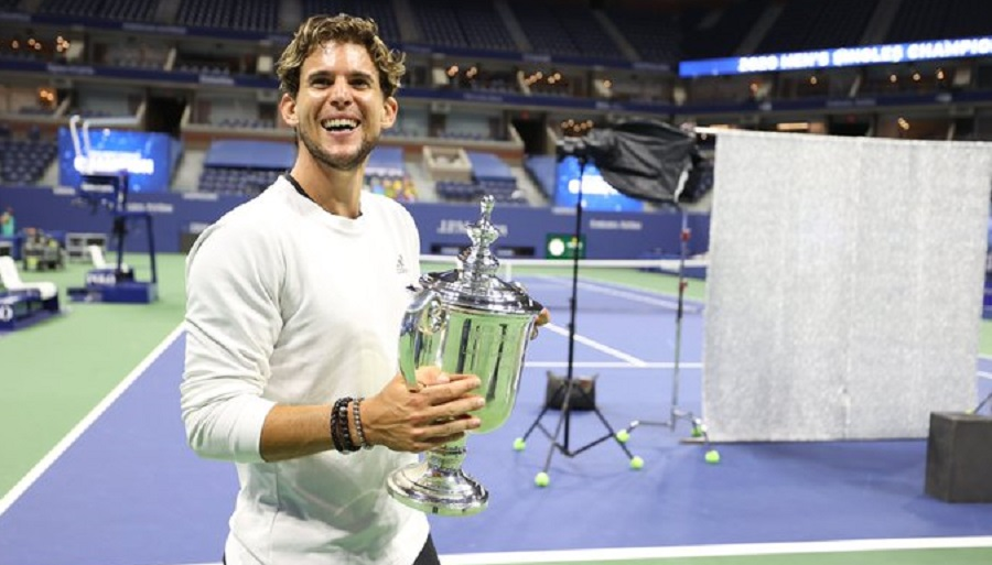 Dominic Thiem with the US Open trophy.