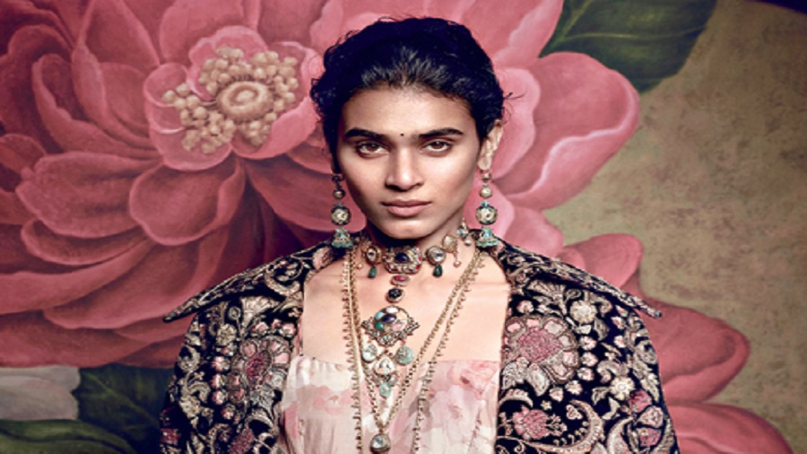 """The articulate Mukherjee went on to describe each piece from the three collections that were inspired by the quintessential lived-out past of Calcutta's well-heeled, well-dressed and cultured ladies """"who used to play bridge and mah-jong with their coiffed hair"""""""