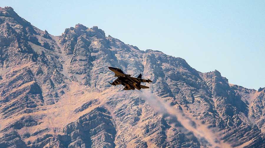 An IAF Sukhoi Su-30 jet flies over the Ladakh region  on Monday.