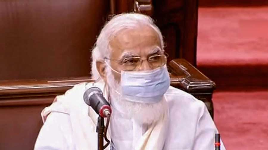 Prime Minister Narendra Modi in the Rajya Sabha during the opening day of monsoon session of Parliament in New Delhi on Monday.