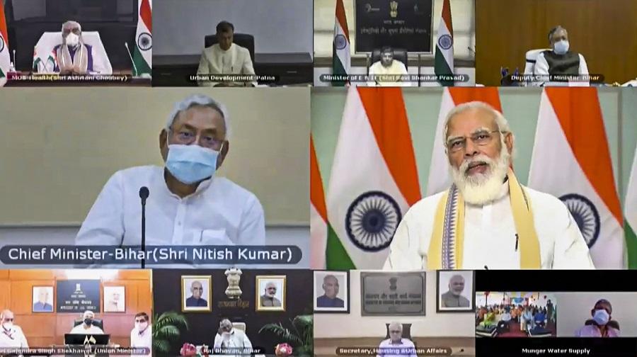 Prime Minister Narendra Modi launches multiple development projects in Bihar through video conferencing, in New Delhi.