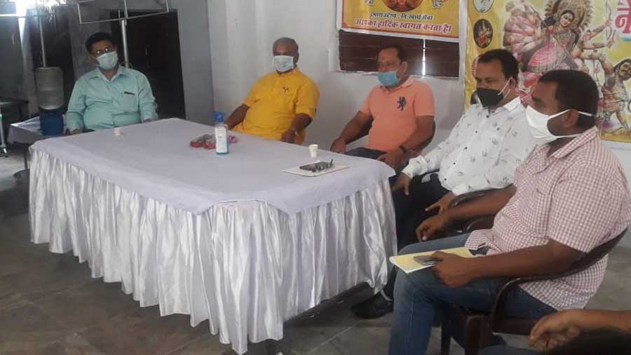 The Central Durga Puja Committee meeting at Golmuri in Jamshedpur on Tuesday.