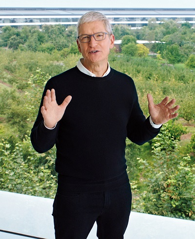 Tim Cook earlier this week at the company's virtual event from Apple Park
