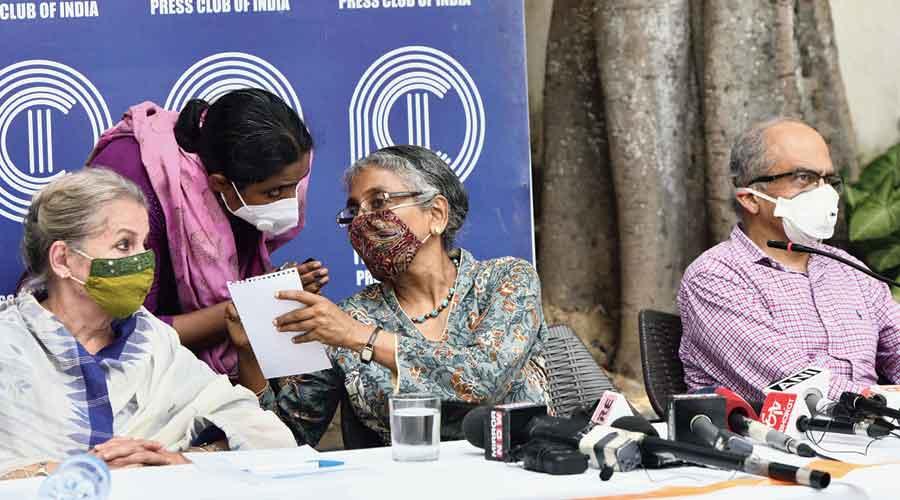 Advocate Prashant Bhushan at the Press Club of India on Wednesday