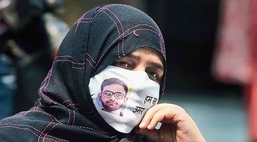 Sabiha, mother of rights activist Umar Khalid who has been arrested in a  Delhi riot case, during a media conference at Press Club of India in New Delhi on Wednesday.