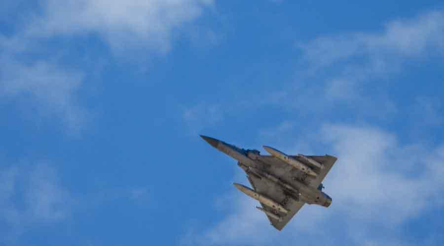 Tejas fighter jet flies over Ladakh on Wednesday