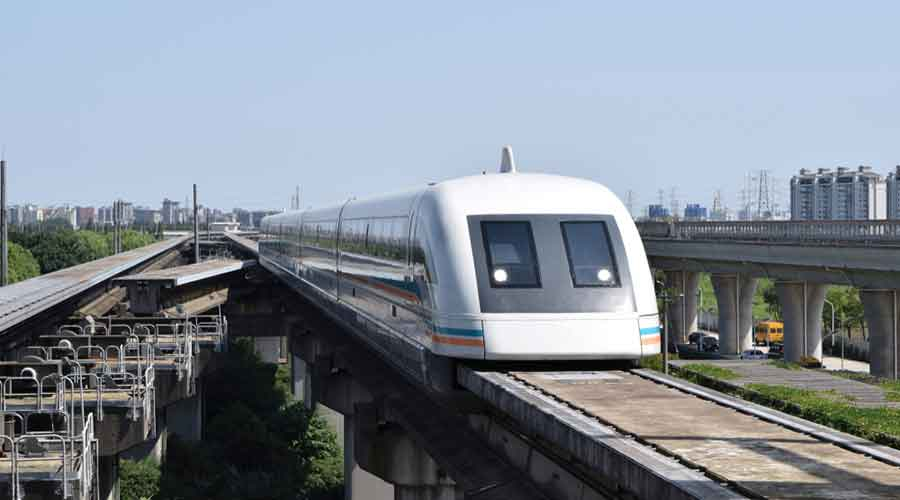 The Maglev Rail system hovers in the air instead of rolling because of magnetic levitation. Thus the vehicles have no physical contact with the guideway.