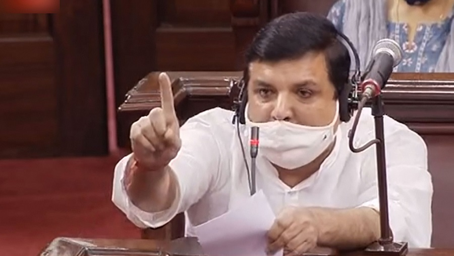 AAP MP Sanjay Singh speaks at Rajya Sabha during the ongoing Monsoon Session of Parliament in New Delhi on Thursday.