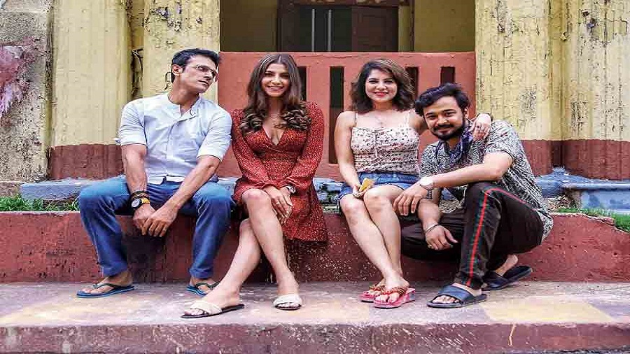 Abhishek, Rachel White, Payel Sarkar and Rajdeep Gupta on the sets of the web series Mismatch Season Three, which is streaming on Hoichoi