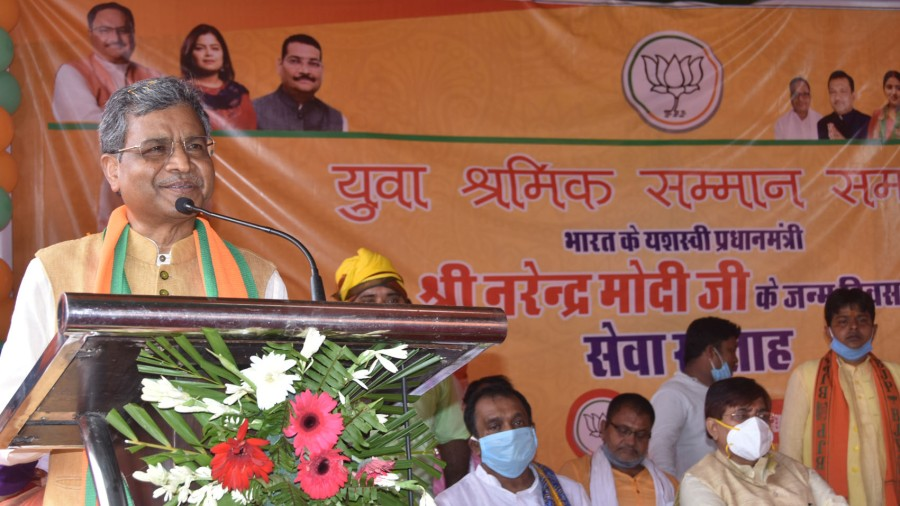 BJP leader Babulal Marandi at the event in Dhanbad on Thursday.