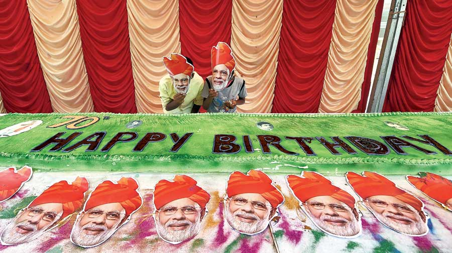 BJP supporters in Chennai celebrate Prime Minister Narendra Modi's 70th birthday on Thursday.