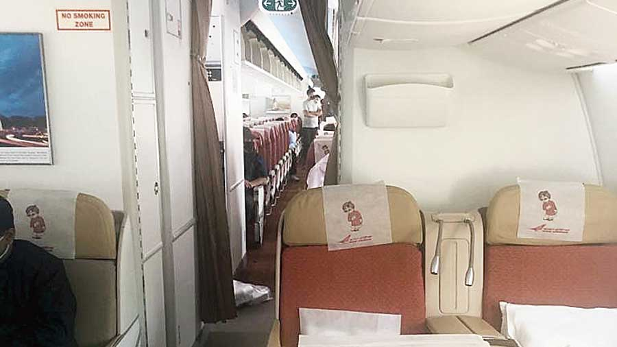 A picture taken by a passenger on the Calcutta-Delhi-London Air India flight that took off from Calcutta on Thursday