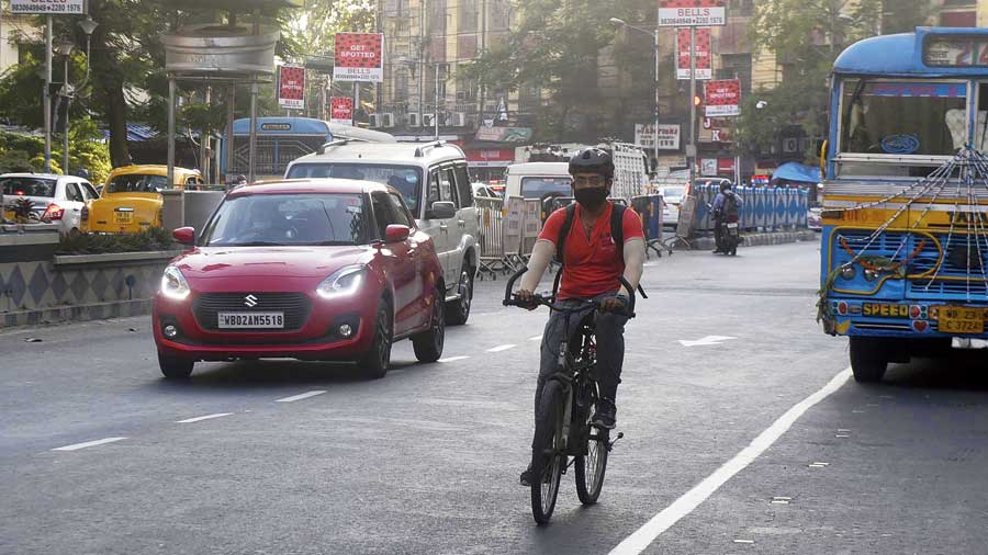 A cyclist on Central Avenue on Thursday afternoon.