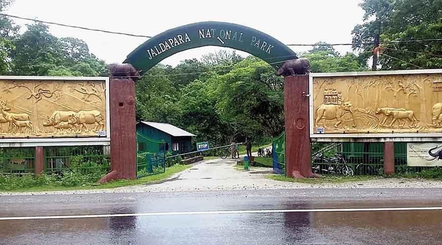 The entrance to the Jaldapara National Park in Alipurduar.