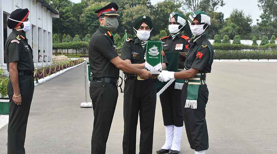 Reviewing officer congratulated all newly inducted soldiers on the successful completion of their training.