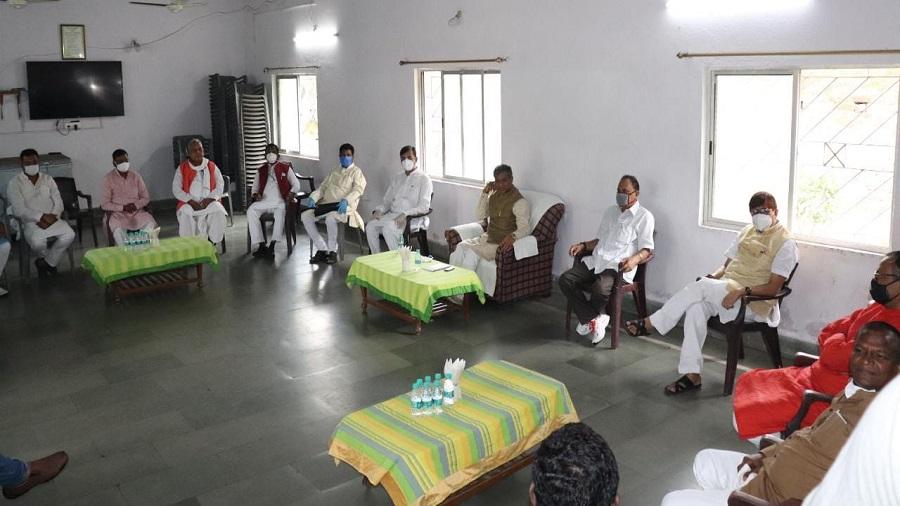 BJP MLAs at a meeting at Babulal Marandi's residence in Ranchi on Friday