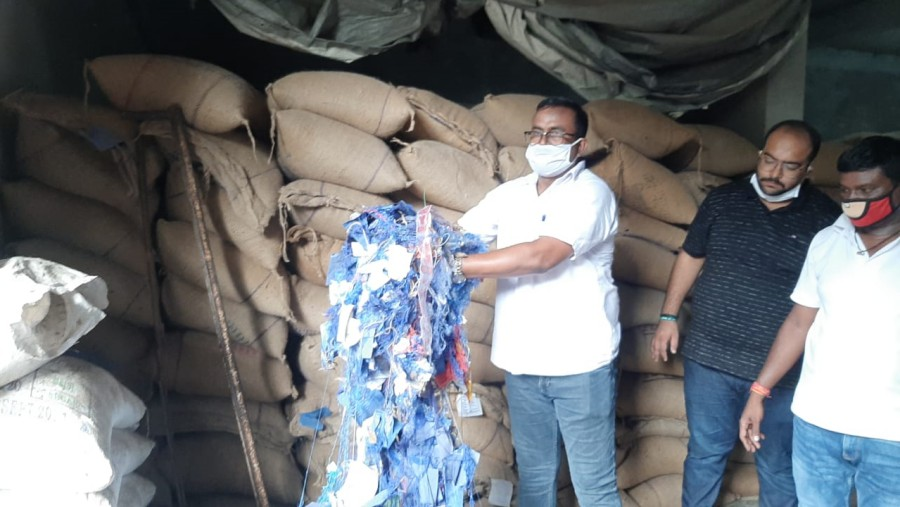 Supply department officials during the raid in Sakchi on Friday.
