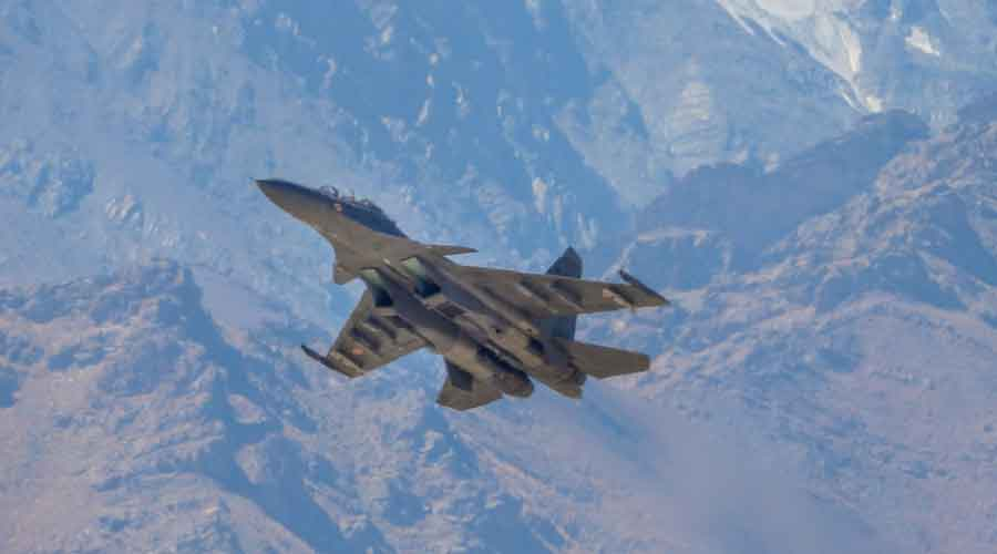 IAF Sukhoi Su-30MKI jet flies over Ladakh on Friday