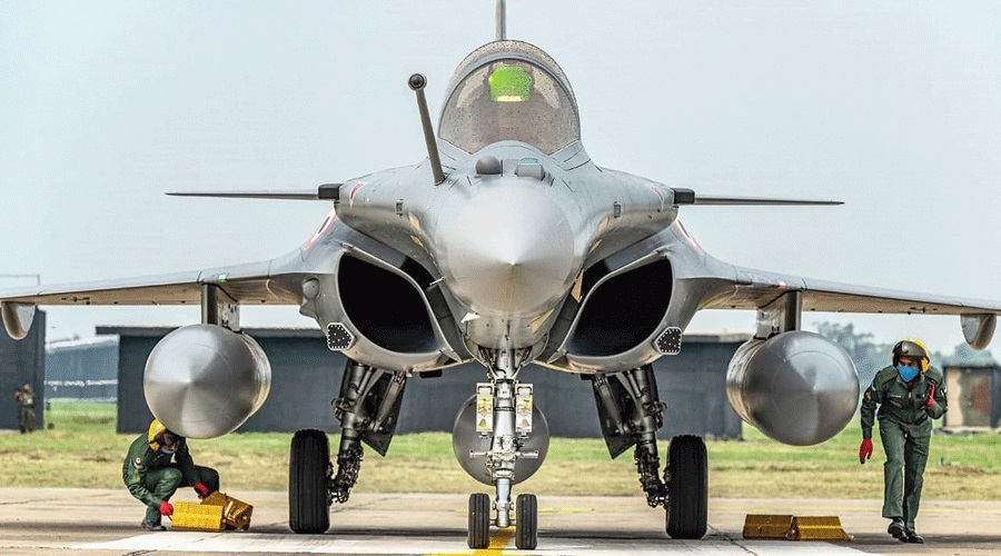 A Rafale aircraft at the air force station in Ambala on Wednesday.