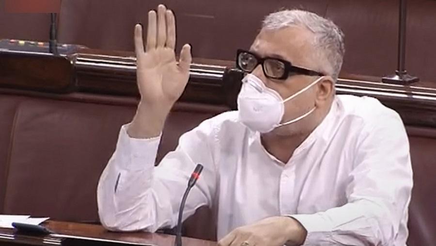 TMC MP Derek OBrien speaks in the Rajya Sabha on Saturday.