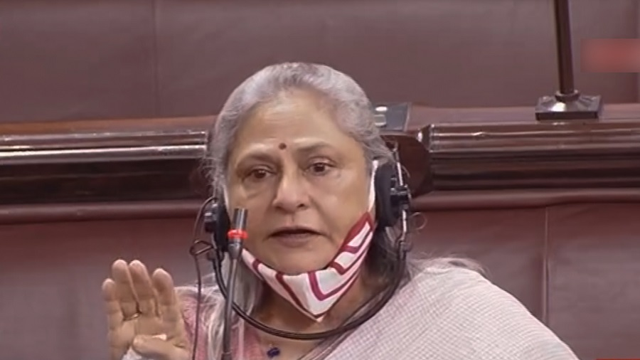 Samajwadi Party MP Jaya Bachchan speaks in the Rajya Sabha during the monsoon session of Parliament