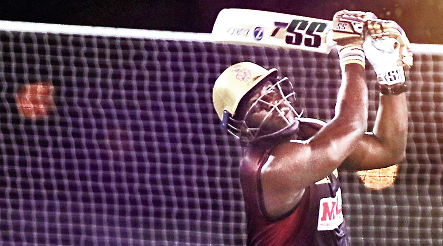 Andre Russell at the Kolkata Knight Riders' nets in Abu Dhabi on Saturday.
