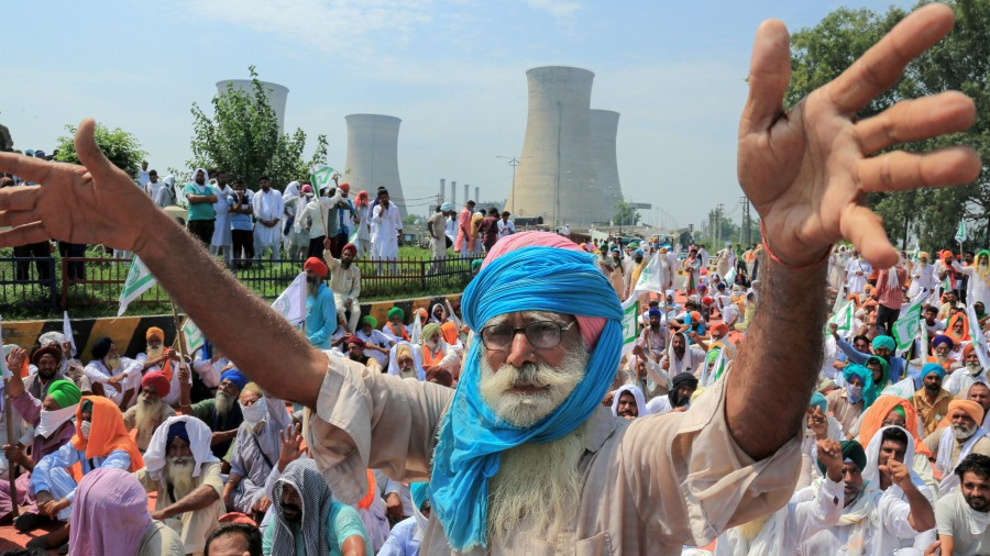A farmer protests against the Centre at Badal village in Sri Muktsar Sahib on September 15.