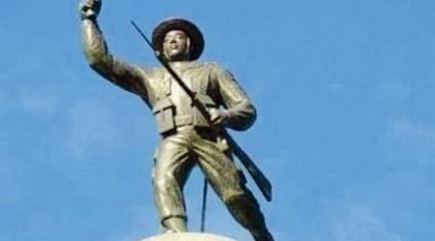 The statue of Gorkha soldier that would be reinstalled atop the Gorkha Rang Manch Bhawan in Darjeeling.