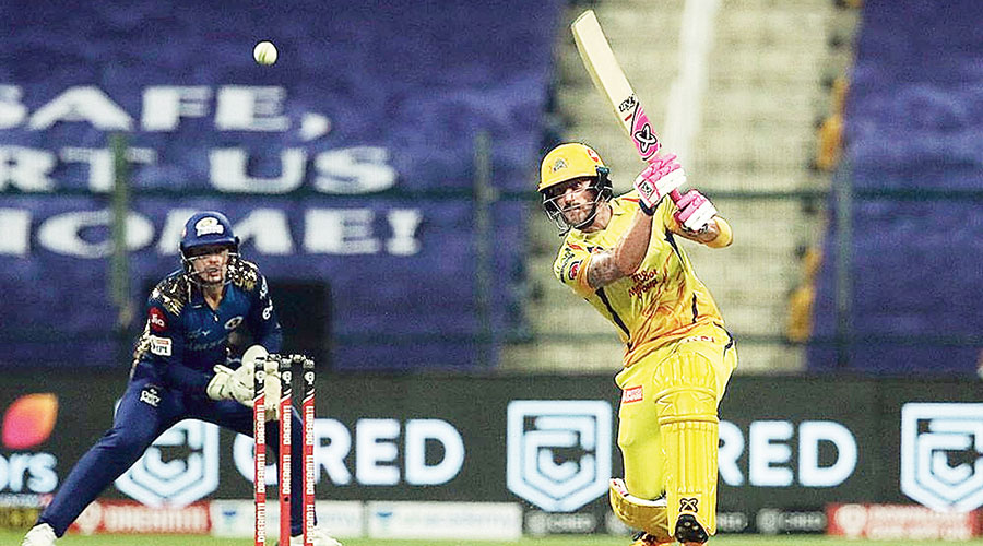 Chennai Super Kings' Faf du Plessis in action against Mumbai Indians in Abu Dhabi on Saturday.
