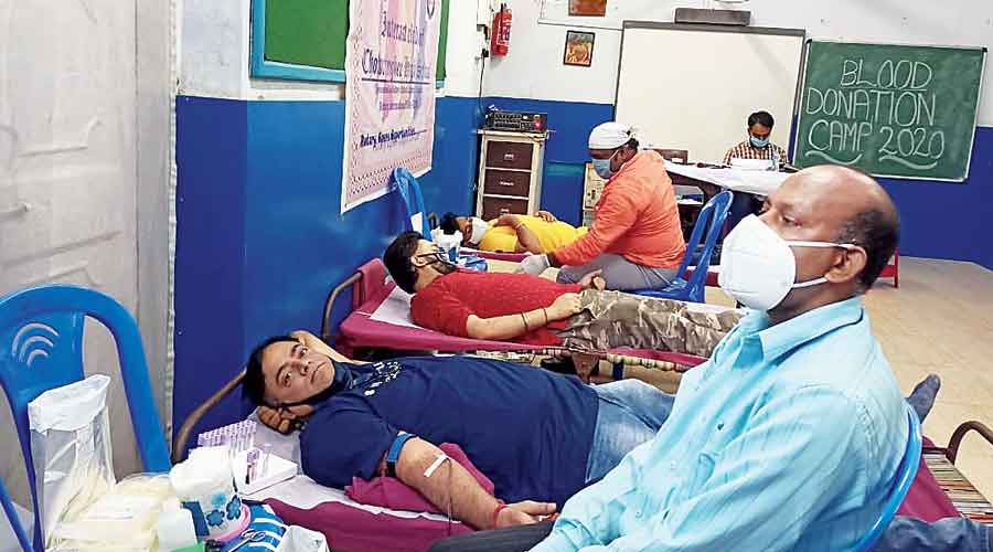 The blood donation camp at Chowringhee High School