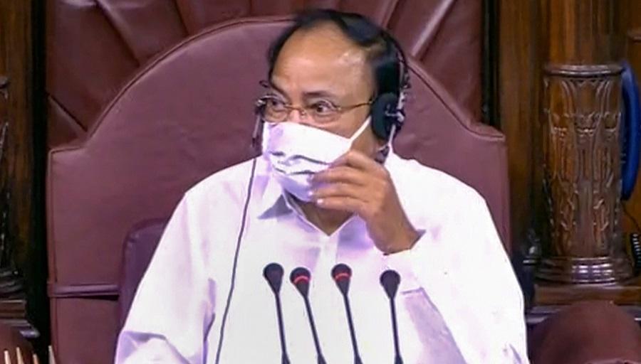 Rajya Sabha Chairman Venkaiah Naidu conducts proceedings in the upper house at Parliament in New Delhi on Monday.