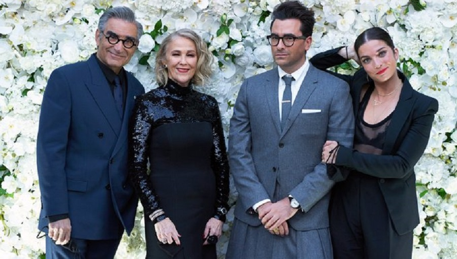 Catherine O'Hara, Eugene Levy, Dan Levy and Annie Murphy of the Schitt's Creek