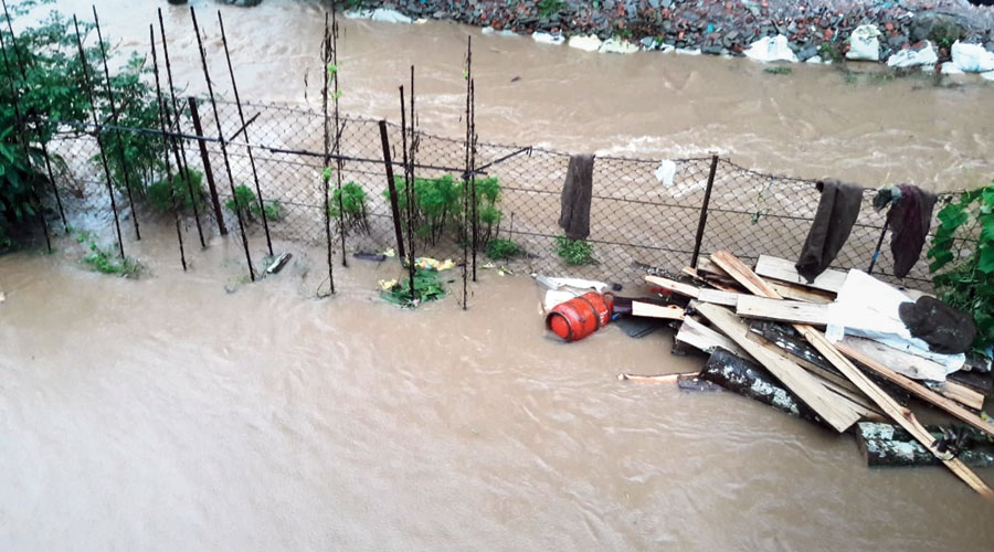 A submerged road in Mirik