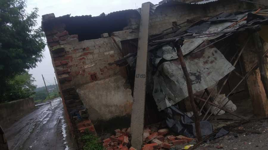 The pole which fell on a Barkatha home on Tuesday.
