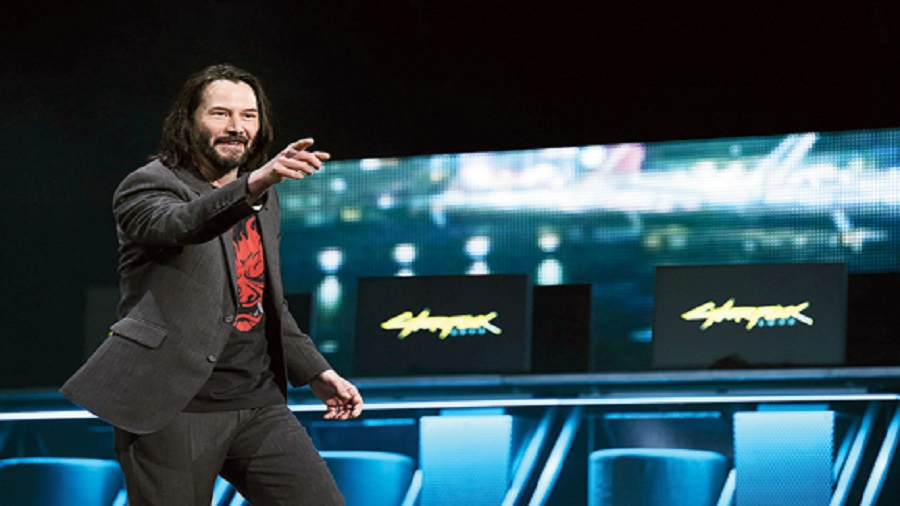 File picture of actor Keanu Reeves, who is part of the Cyberpunk 2077 video game, speaking during a Microsoft Xbox event in June 2019
